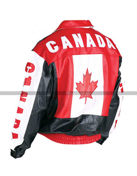 Men's Canadian Flag Motorcycle Leather Jacket
