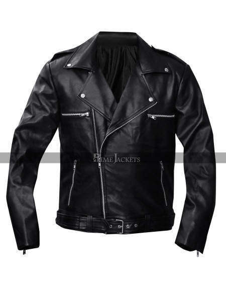 Walking Dead Negan Black Biker Leather Jacket