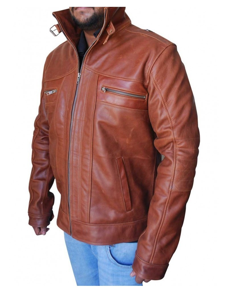 Heavy Duty Nubuck Leather Brown Motorcycle Jacket