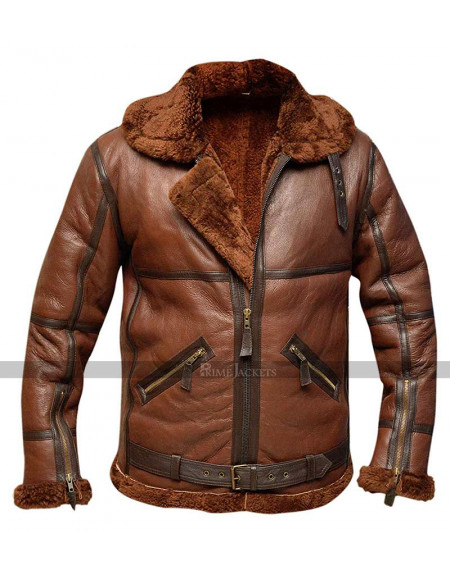 RAF British Shearling Flight Aviator Brown Jacket