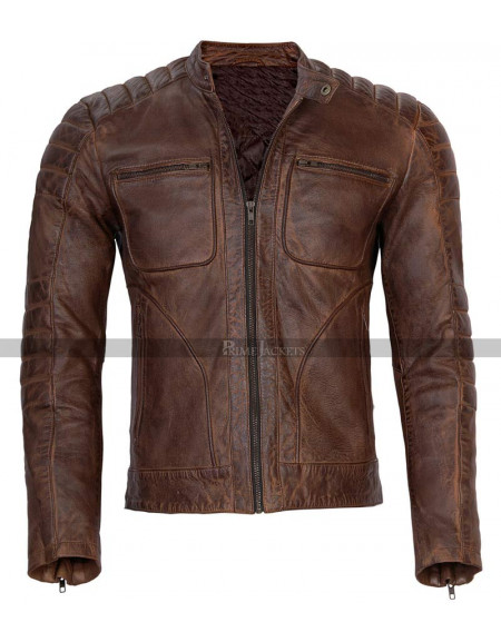 Mens Motorcycle Distressed Brown Leather Jacket