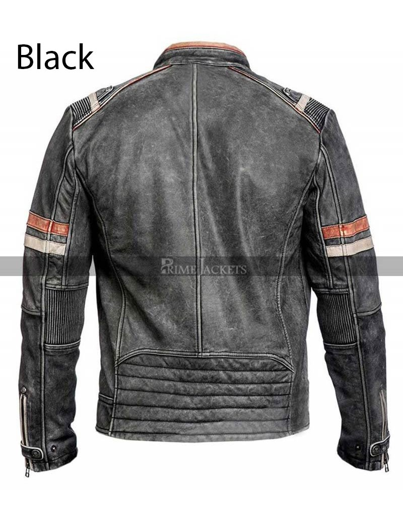 Cafe Racer Distressed Vintage Retro Black Motorcycle Leather Jacket