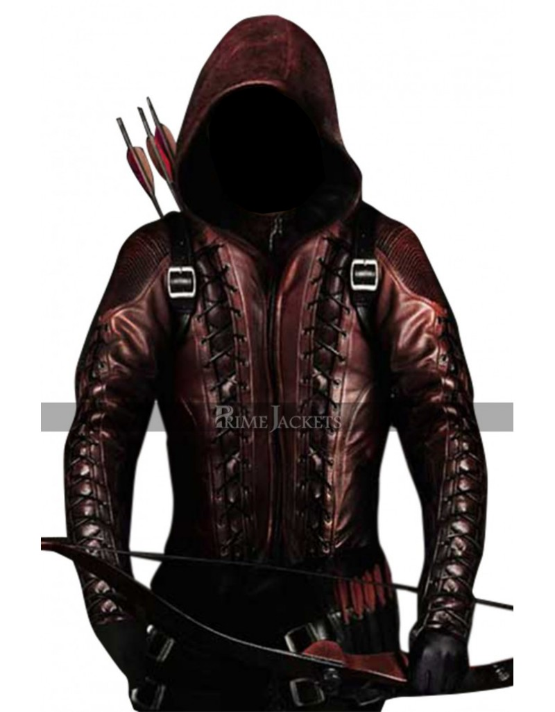 Arrow Arsenal Red Colton Haynes Hooded Leather Jacket