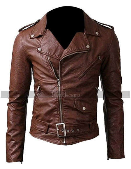 Belted Rider Slim Fit Brown Leather Jacket