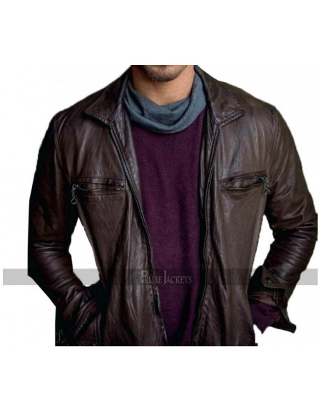 Kellan Lutz Slimfit Brown Leather Jacket