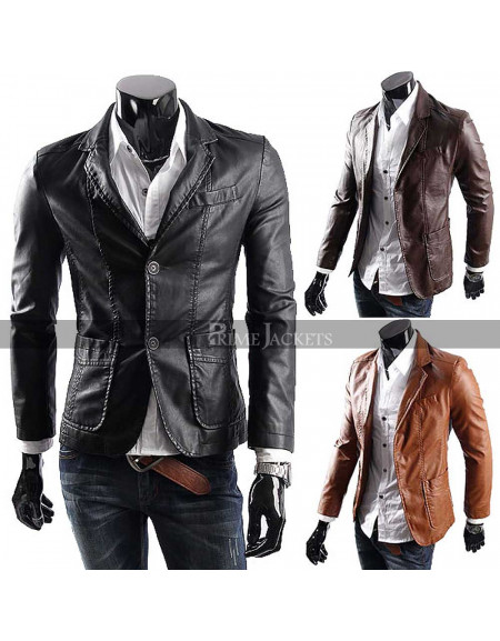 Men's Casual Smart Designers Black/Brown Leather Blazer Jacket