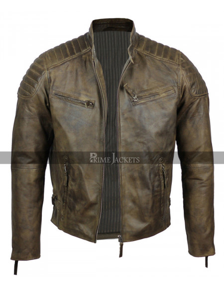 Mens Real Soft Leather Slim Fit Antique Washed Brown Urban Jacket