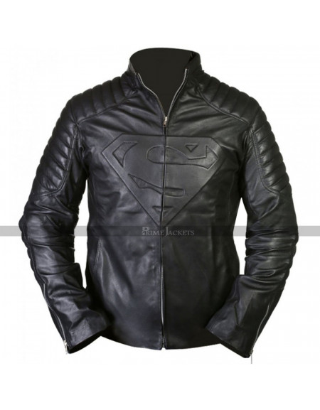 Superman Smallville Black Jacket with Padded Emblem