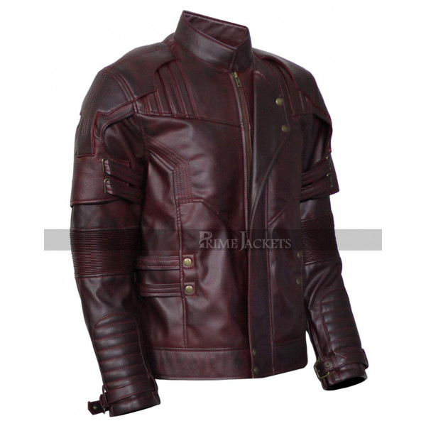 Guardians of the Galaxy Vol 2 Chris Pratt Distressed Maroon Leather Jacket