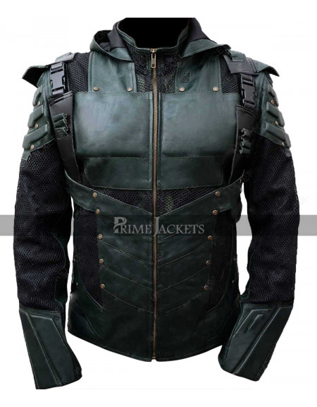 Green Arrow Hooded Jacket Stephen Amell Season 5 Oliver Queen Leather Costume