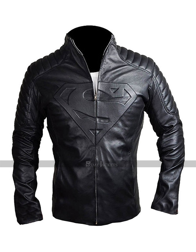 Superman Man Of Steel and Smallville Leather Shield Jacket