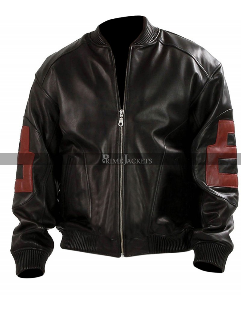 24d500055 Mens 8-Ball Black Leather Bomber Jacket