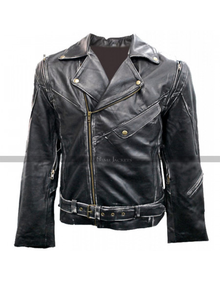 Arnold Terminator 2 Black Motorcycle Leather Jacket