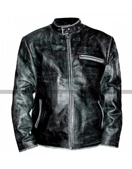 Tom Cruise Distressed Black Motorcycle Leather Jacket