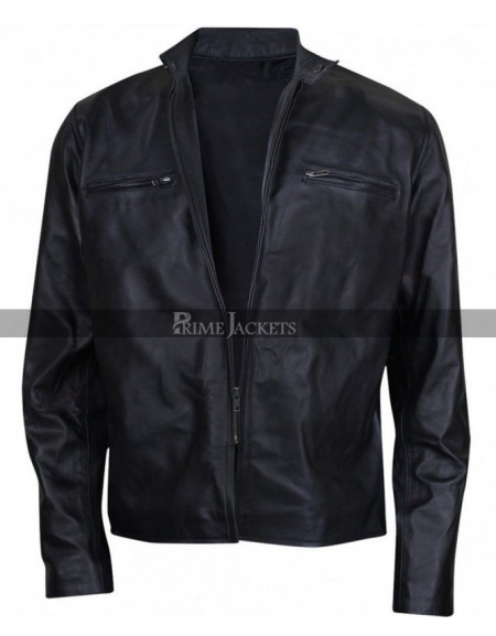 Mens Lambskin Black Leather Cafe Racer Jacket