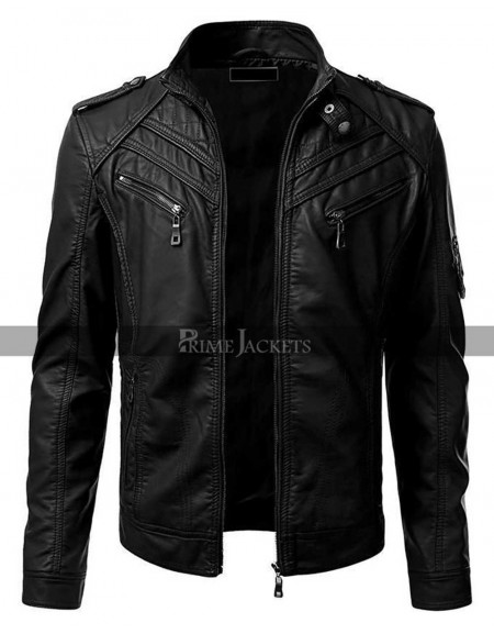 Vintage Cafe Racer Slim Fit Black Bikers Leather Jacket