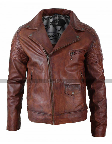 Mens Vintage Washed Tan Brown Motorcycle Leather Biker Jacket