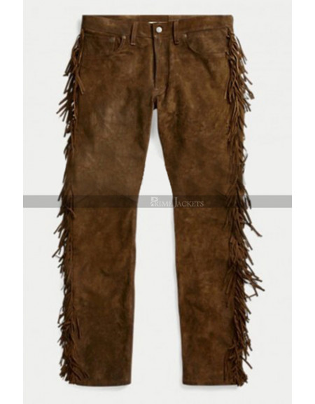 American Native Cowboy Brown Suede Leather Pants