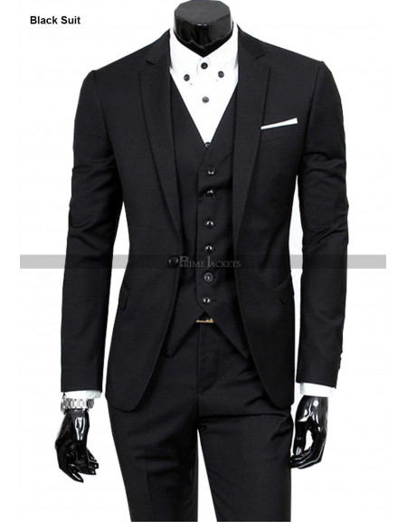 Mens 3-Piece Suit Slim Fit Notch Lapel