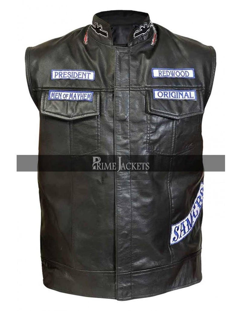 Sons of Anarchy Jax Teller Motorcycle Jacket Vest With Patches S7