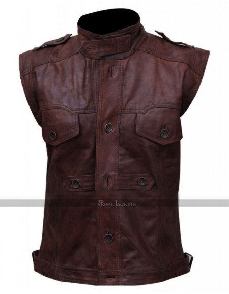 Men's Chocolate Brown Distressed Biker Leather Vest