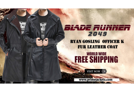 Ryan Gosling Blade Runner 2049 Officer K Black Real Leather Coat Costume