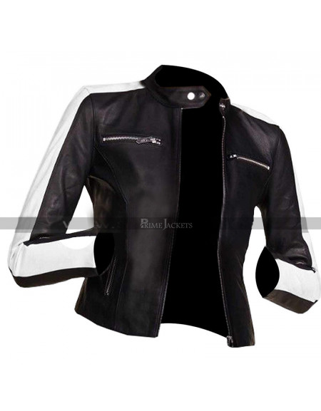 Women Slim Fit Back Stripe Biker Leather Jacket