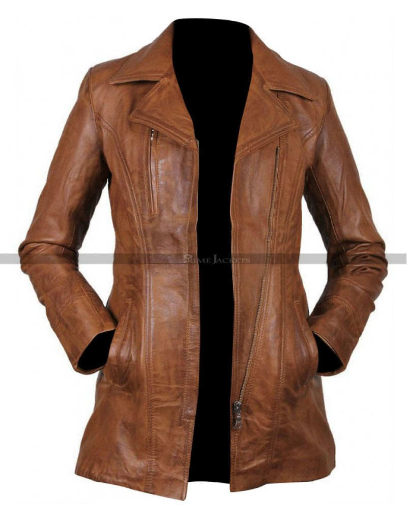 Womens Brown Long Leather Jacket