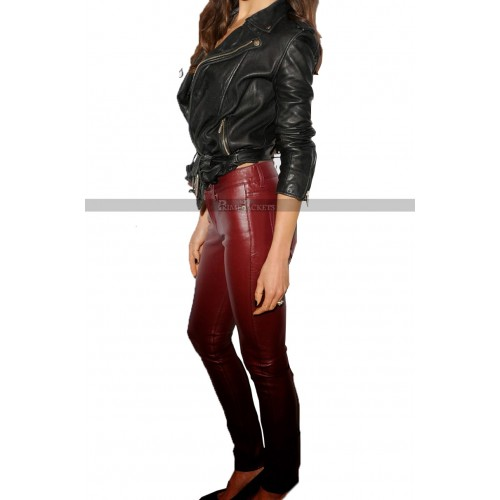 Maggie Q Motorcycle Leather Jacket Pants