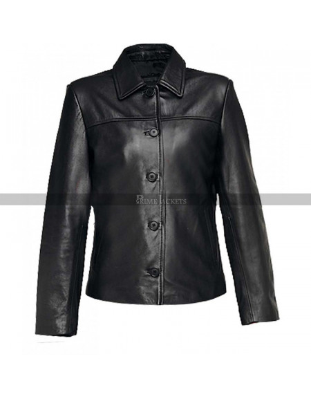 Women Black Leather Jacket With Button Closure