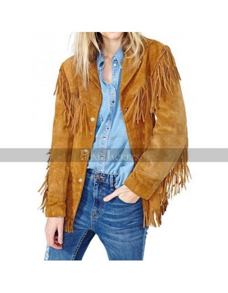 Cowgirl Fringes Brown suede Leather Jacket
