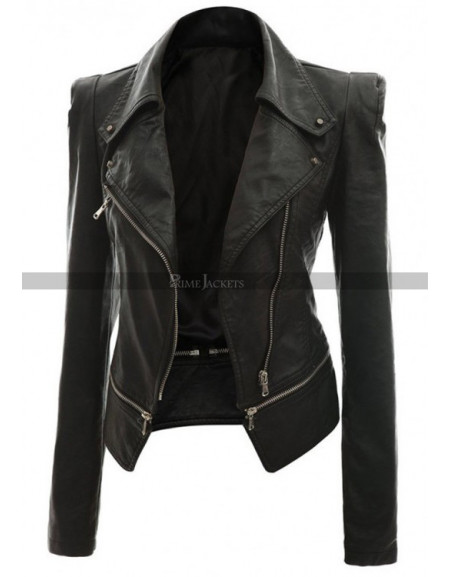 Alabama Women Black Leather Slim Fit Jacket