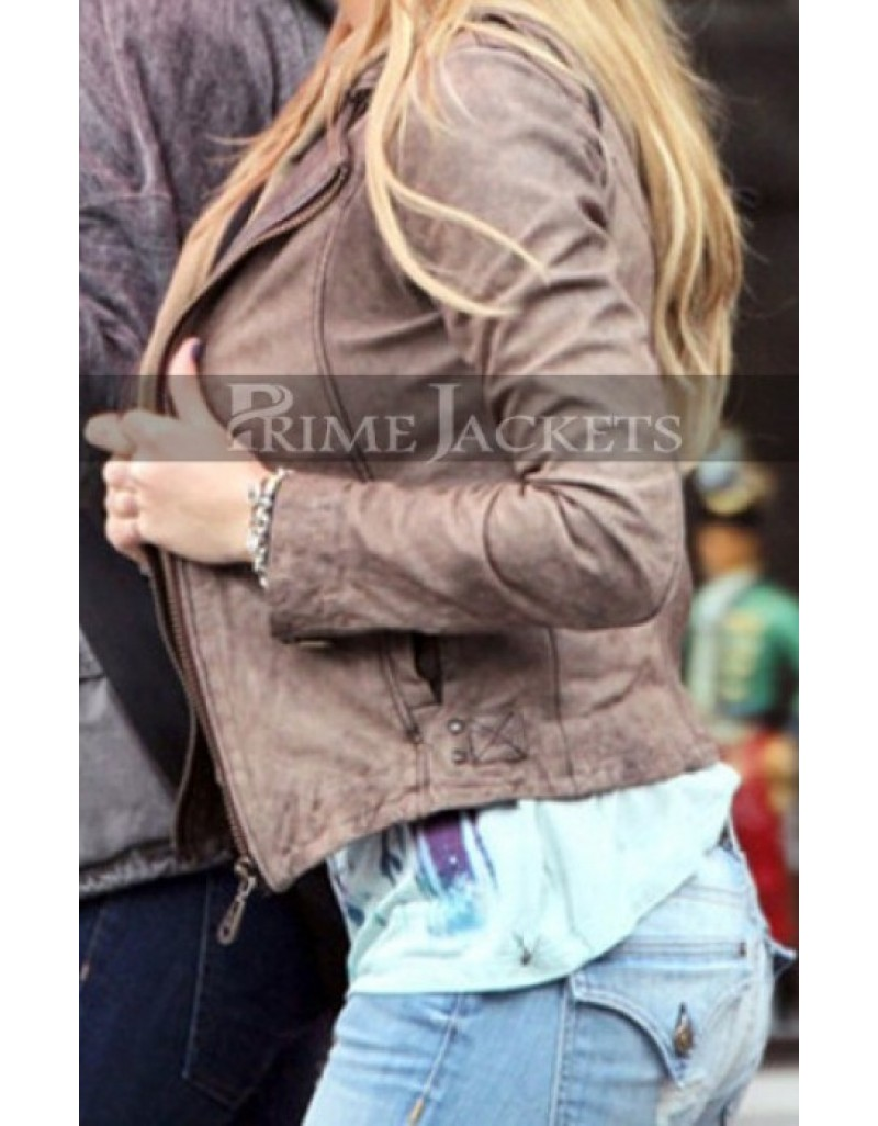 Hellcats Amanda Joy Michalka Brown Hoodie Leather Jacket