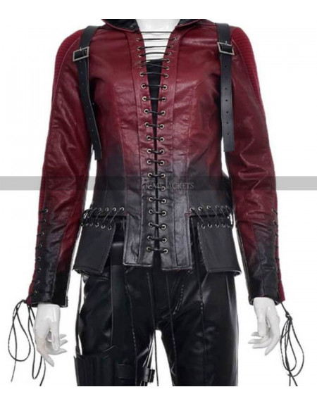 Arsenal Red Arrow Leather Women Hooddie Jacket