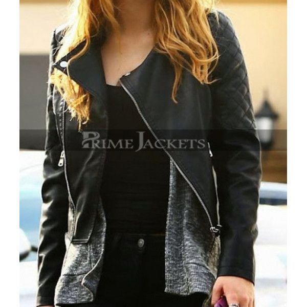 Bella Thorne Black Quilted Leather Jacket