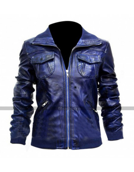 Womens Leather Bomber Blue Jacket