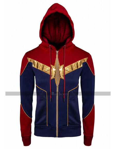 Captain Marvel Carol Danvers Red & Blue Hoodie