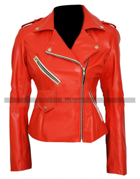 Charlotte McKinney Motorcycle Red Jacket