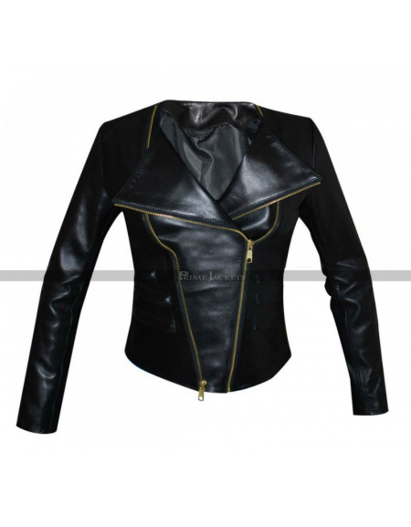 Chrissy Teigen Sporty Biker Leather Jacket