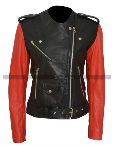 Hailey Baldwin Black & Red Motorcycle Leather Jacket