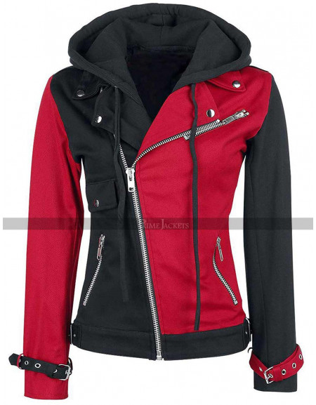 Harley Quinn Black & Red Zip Up Hoodie