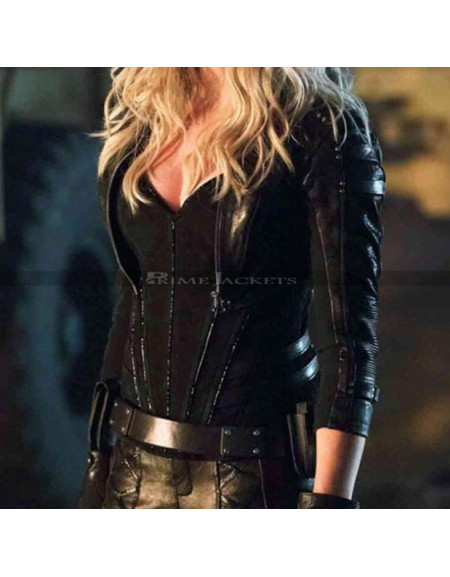 Arrow Katie Cassidy Black Leather Jacket