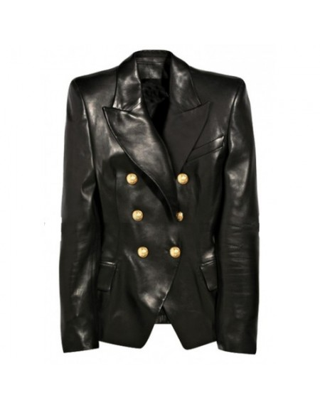 Kim Kardashian Balmain Black Leather Jacket