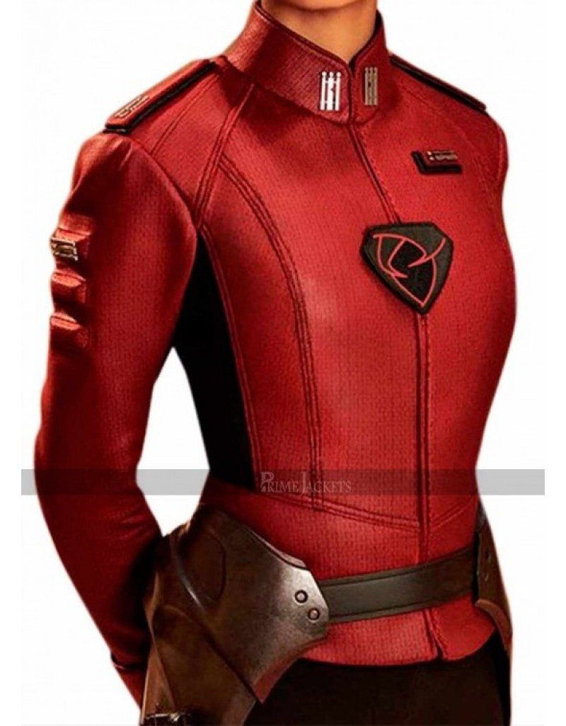 Krypton Georgina Campbell Lyta Zod Red Leather Jacket