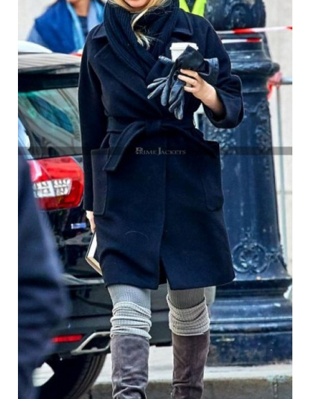Red Sparrow Jennifer Lawrence Black Wool Coat