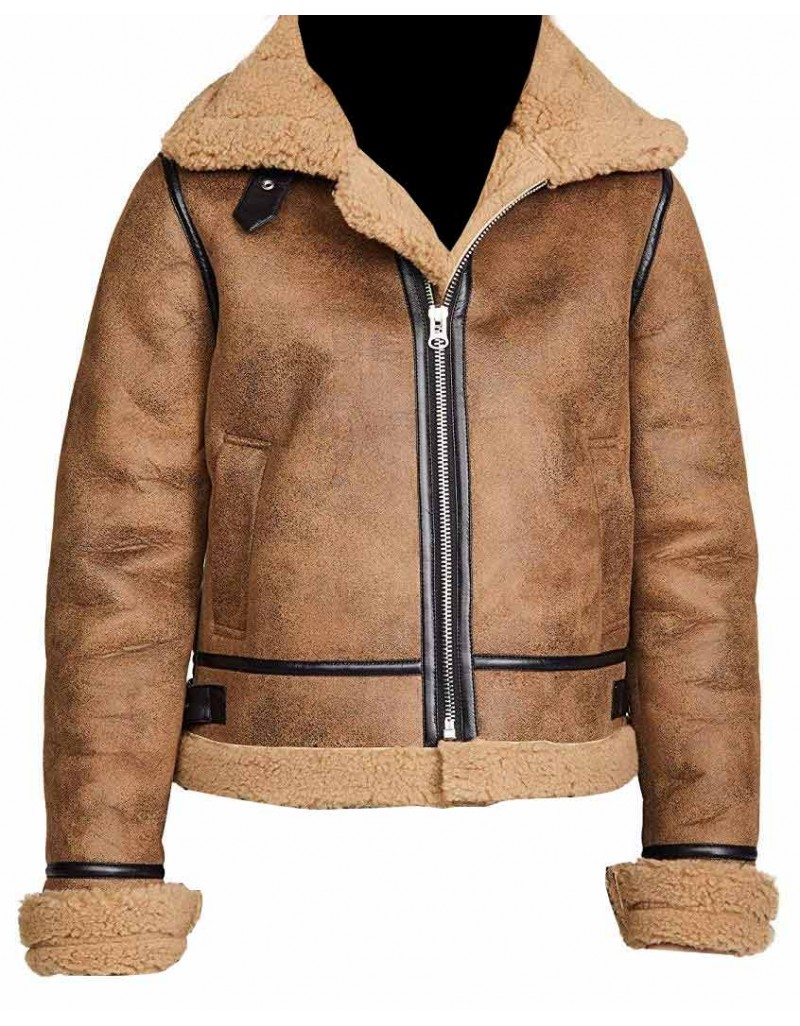 B3 Sheepskin Aviator Flight Fur Shearling Bomber Jacket