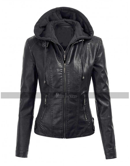 Women Biker Hoodie Slim Fit Motorcycle Leather Jacket