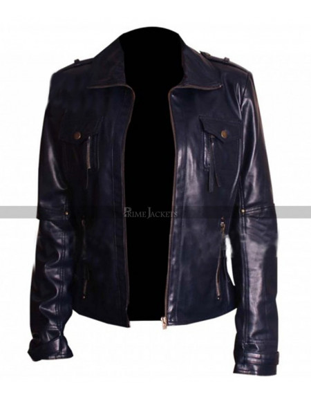 Womens Slim fit Navy Blue Real Leather Jacket