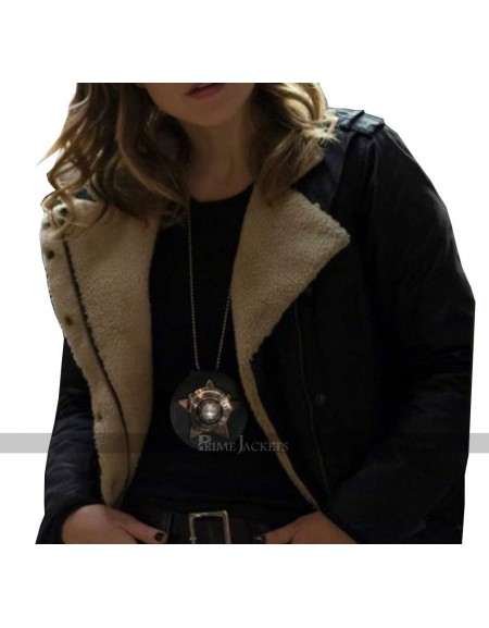 Chicago PD Erin Lindsay Fur Leather Jacket