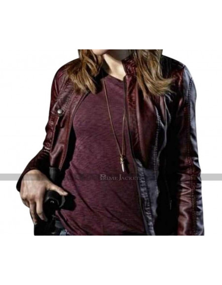 Sophia Bush Chicago P.D. Maroon Leather Jacket